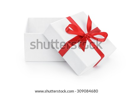open white present paper box with red ribbon bow, isolated on white - stock photo