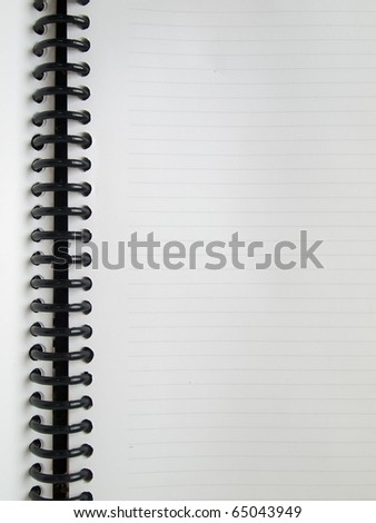 Open White single page notebook with line