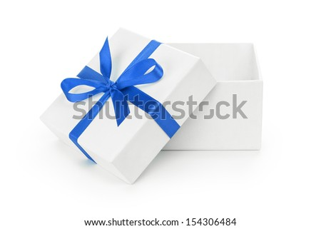 open white textured gift box with blue ribbon bow, isolated on white - stock photo