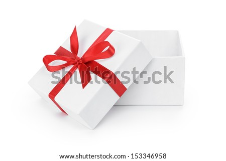 open white textured gift box with red  ribbon bow, isolated on white - stock photo