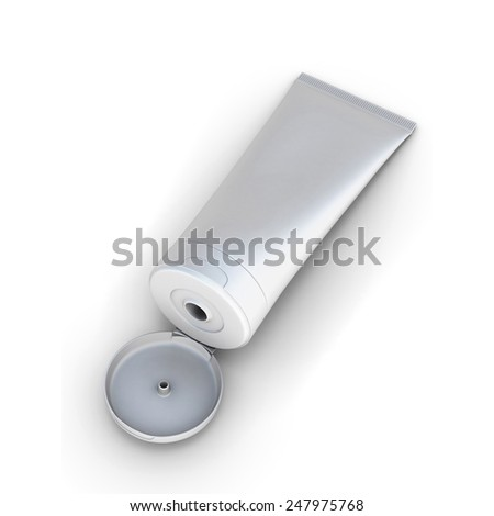 Open white tube cream isolated on white background - stock photo
