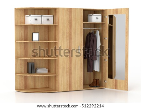 Open white wardrobe with book racks and mirror isolated on white background. Include clipping path. 3d render