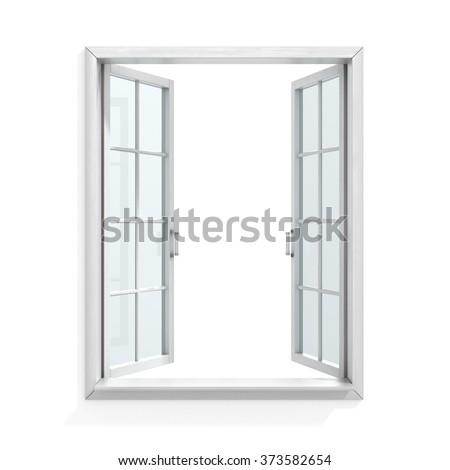 Open white wooden window - stock photo