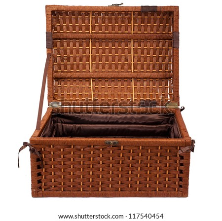 open wicker chest isolated on white background - stock photo