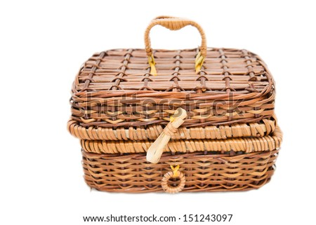 open wicker chest isolated on white background