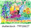 Open window into flowering garden.Picture I have created with watercolors. - stock photo