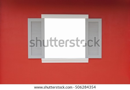 open window on the red wall background. empty window for text
