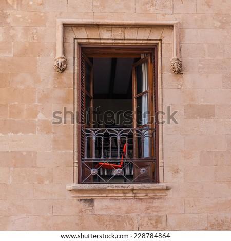 Open window on the wall - stock photo