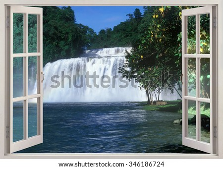 Open window pan?ramic view to famous Tinuy-an Falls, Bislig City, Philippines - stock photo