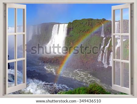 Open window panoramic view to Iguacu falls from brazilian side - stock photo