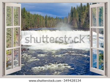 Open window view to Dawson Falls, Murtle River, Wells Gray Provincial Park, British Columbia, Canada - stock photo