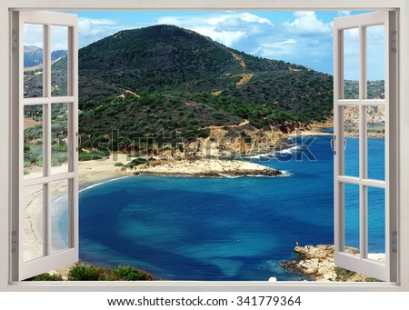 Open window view to famous Sardinia island beach in sunny summer day, Italy