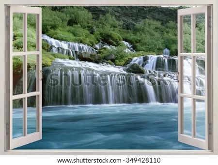 Open window view to Hraunfossar - Lava Falls - are beautiful and unusual natural phenomena - stock photo