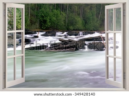 Open window view to river stream with stones - stock photo