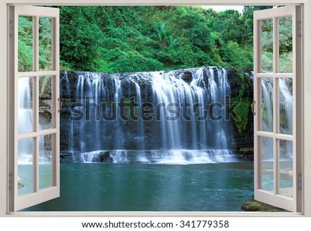 Open window view to Tolofofo falls paradise, Guam, Micronesia - stock photo