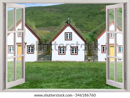 Open window view to turf houses at Glaumbaer folk museum, Iceland - stock photo