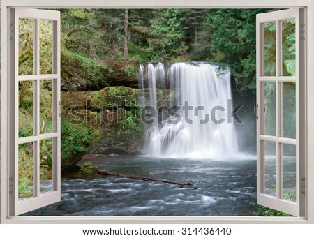 Open window view to Upper North Falls Silver Falls State Park Oregon United States - stock photo