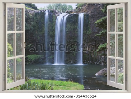 Open window view to Whangarei Falls, North Island, New Zealand - stock photo