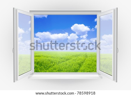 Open window with green grass on a background