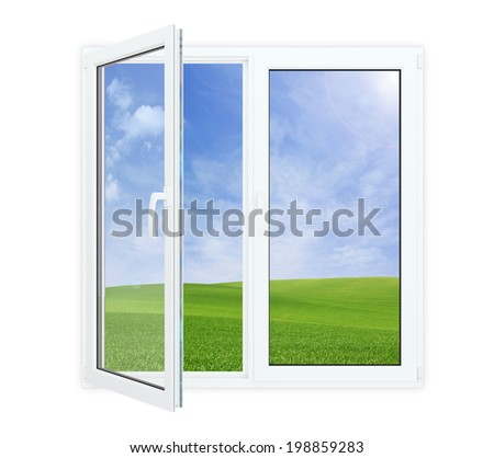 Open window with picturesque view of blue sky and green grass, isolated on white