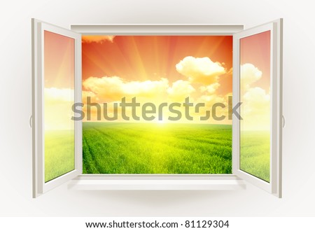 Open window with sunset on a background - stock photo