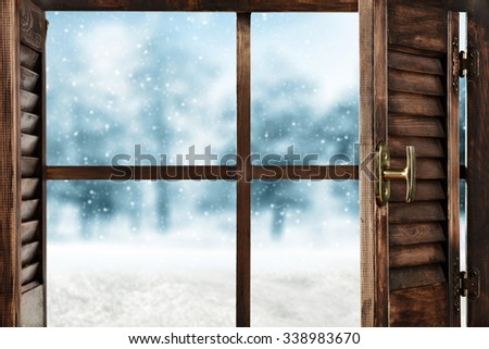 open winter window space  - stock photo