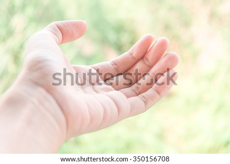 Open woman hand on light green background