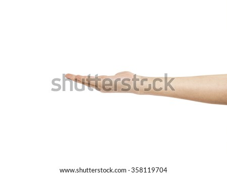 Open woman hand on white background. - stock photo