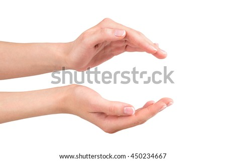 Open woman hands holding or giving on white background