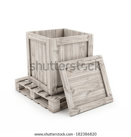 Open Wooden Box on Wooden Pallets Isolated on White Background