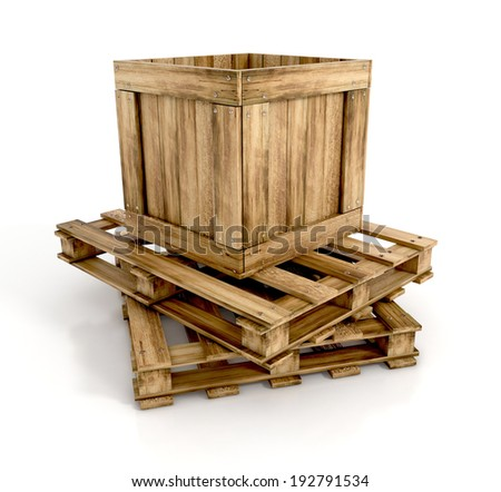 open wooden box on wooden pallets Isolated on white background. 3d illustration. - stock photo