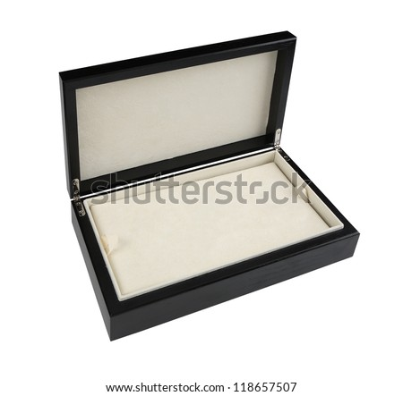 Open wooden box with leather interior isolated on white background