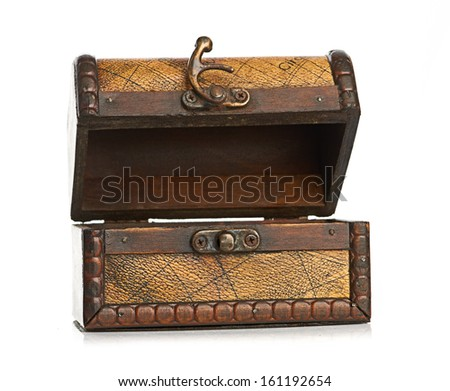 open wooden chest isolated on white background