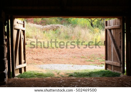 Open Wooden Gate Old Village Barn Stock Photo 100 Legal Protection