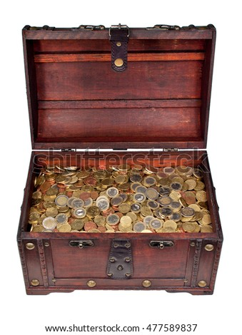 Open wooden treasure chest filled with Euro coins
