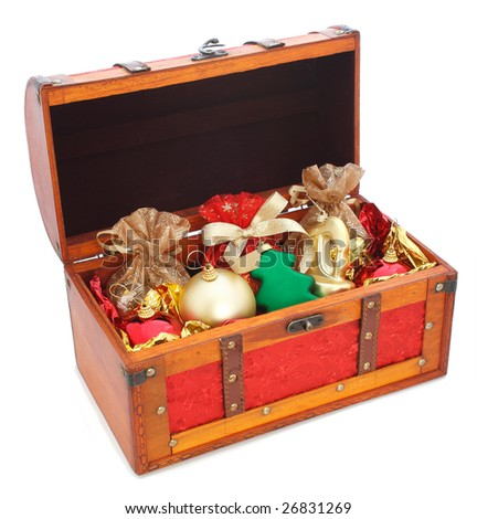 open wooden trunk with gifts