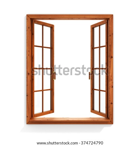 Open wooden window isolated on white background.