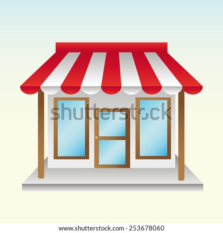 opened a new store useful things with half striped awning - stock photo