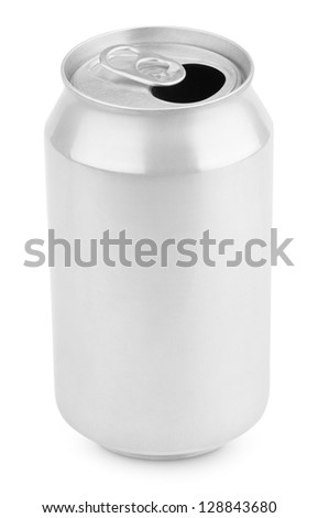 Opened aluminum soda can isolated on white with clipping path - stock photo