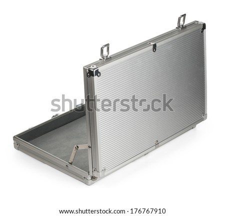 Opened Aluminum suitcase isolated on a white background.