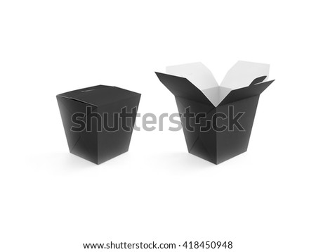 Opened and closed black blank wok box mockup stand isolated, 3d rendering. Empty clear noodle carton box mock up. Asian take away food paper bag template. Chinese meal container packaging. Rice, udon - stock photo