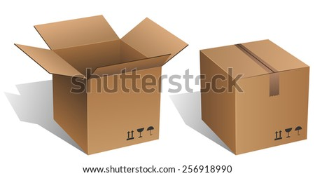 Opened and closed cardboard box isolated on white background. - stock photo