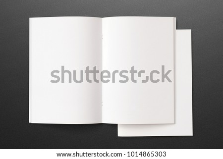 Opened and closed Portrait Magazines with blank pages and cover on dark textured background. 3d Illustration for your presentation.