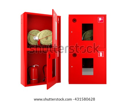 Opened and closed red fire hose and fire extinguisher cabinets on white background, 3D rendering - stock photo