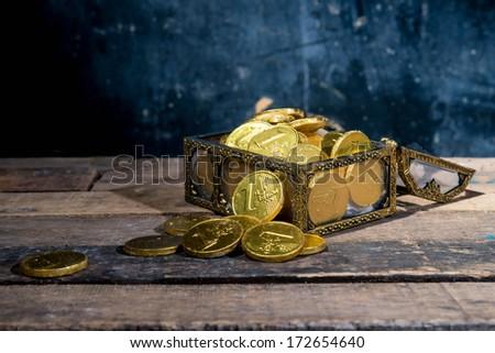 Opened antique treasure chest.  - stock photo