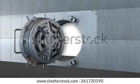 Opened bank vault door - stock photo