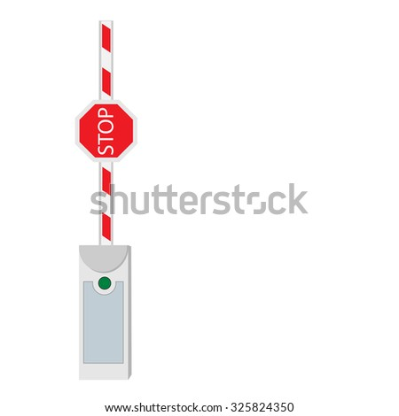 Opened barrier, road barrier, barrier raster, isolated on white