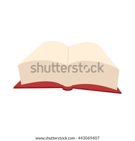 Opened big book icon in cartoon style on a white background