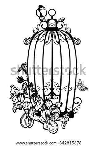 opened bird cage among iris flowers and butterflies - black and white design - stock photo