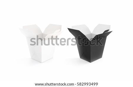 Opened Black White Blank Wok Box Stock Illustration 582993499 ...